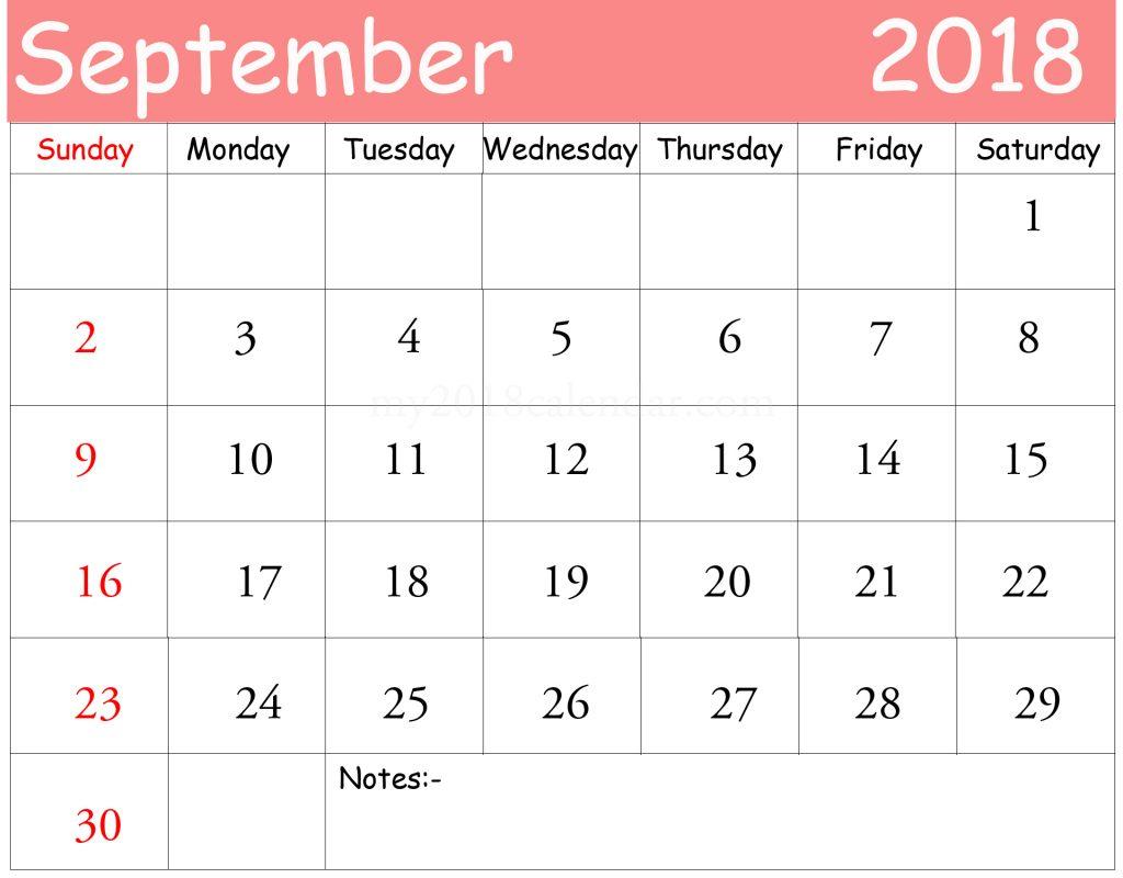2018 september calendar printable