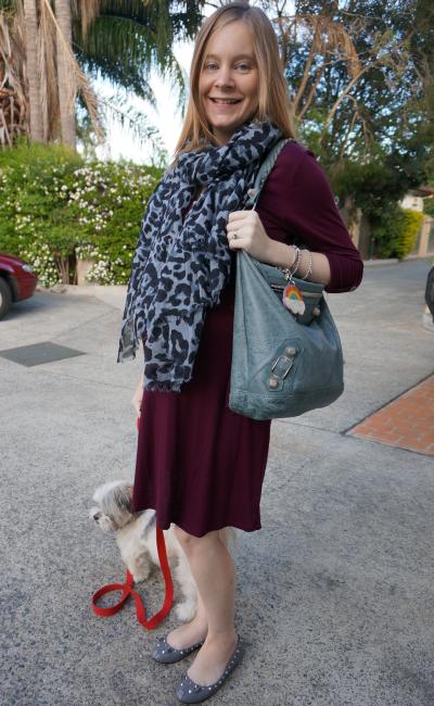 pink blush maternity burgundy dress blue leopard print scarf grey flats