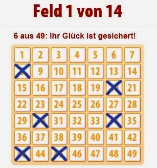 Felder eines Lottokästchen