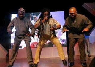 Fashola, Daddy Showkey and Peter Obi dancing galala