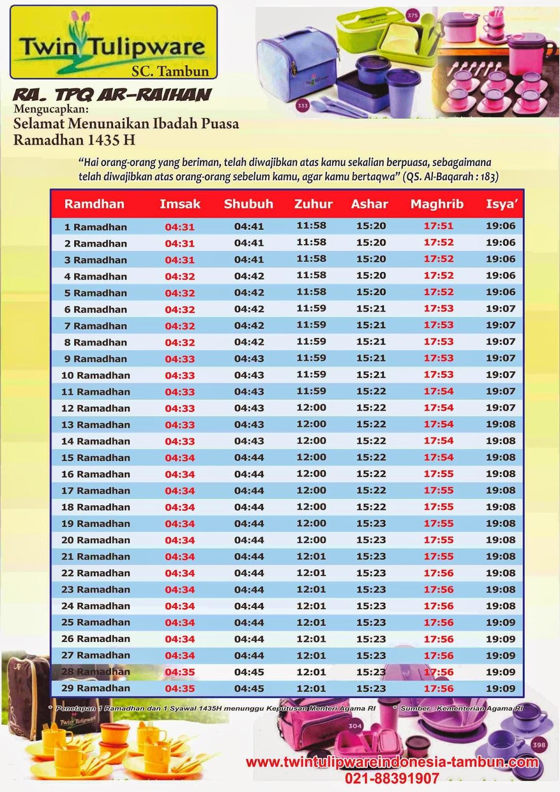 Jadwal Imsakiyah Ramadhan 1435 Hijriyah 2014 Edisi Twin Tulipware