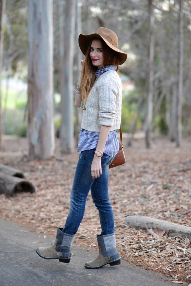 fall outfit with jeans, a sweater and Sorel boots, via M Loves M @marmar