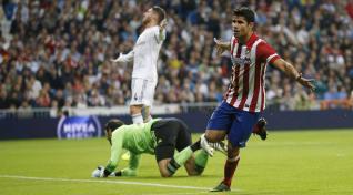 Diego Costa, jugador del Atlético de Madrid, celebrando su gol ante el Real Madrid en el derbi.