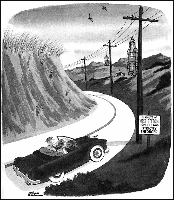 Charles Addams cartoon Speed Laws Strictly Enforced