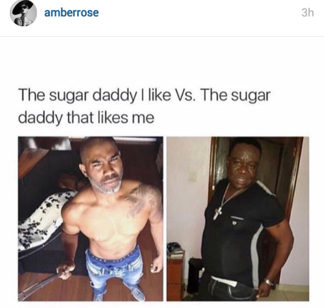 Amber rose meme on Sugar Daddies