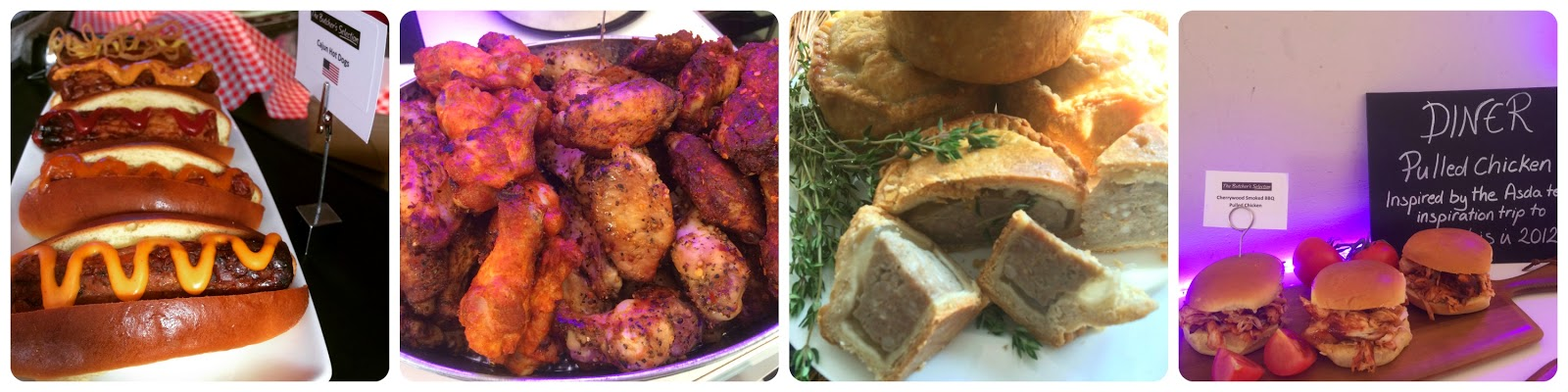 gluten free hot dogs, sausages, chicken, pork pie, pulled chicken from Asda