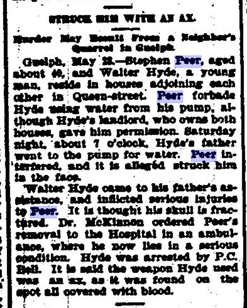 52 Ancestors: Found Details re Great-Grandpa Peer Attacked By Axe-Wielding Neighbour in 1895