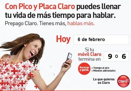 Hoy Miercoles 6 de febrero es día Pico y Placa Claro Comcel para