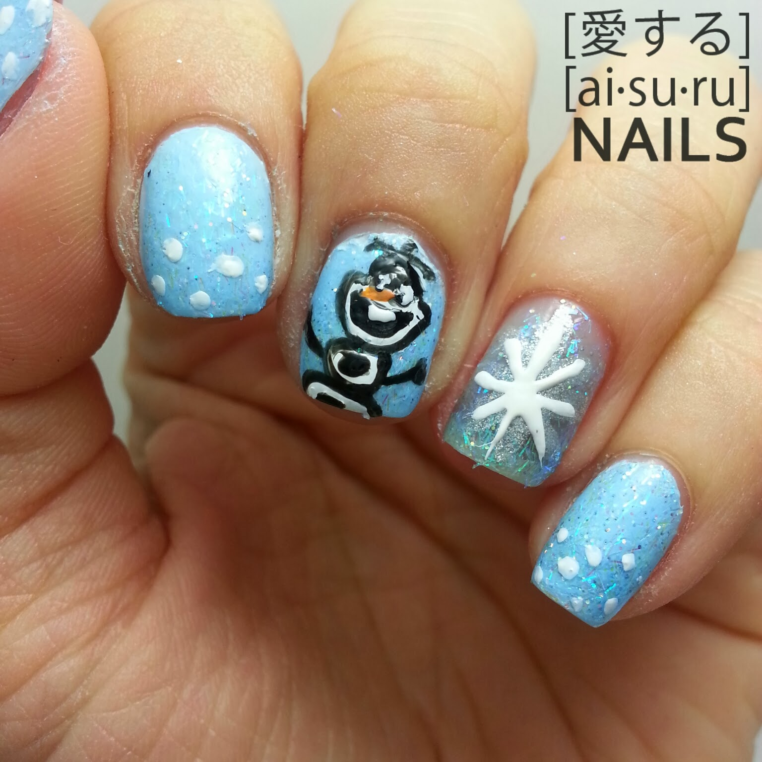 Frozen themed nail art aisuru nails olaf frozen themed nails prinsesfo Gallery