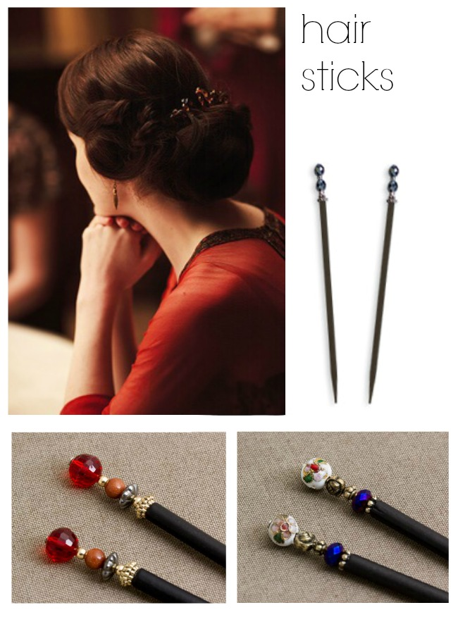 Lady Mary Downton Abbey style hair accessories and downton hairstyles via va voom vintage