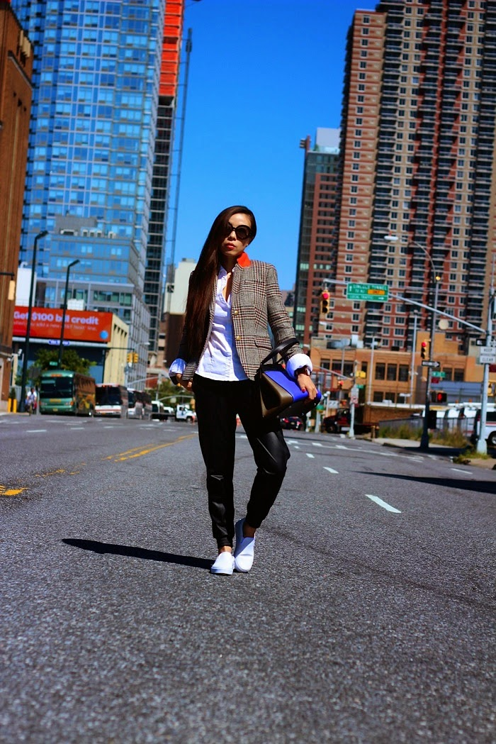 J.Crew Schoolboy blazer in houndstooth,celine edge bag,vans slipon, prada sunglasses,lovers+friends trackpants, streetstyle,nyc,schoolboy,shallwesasa,casual,chic,daniel wellington watch