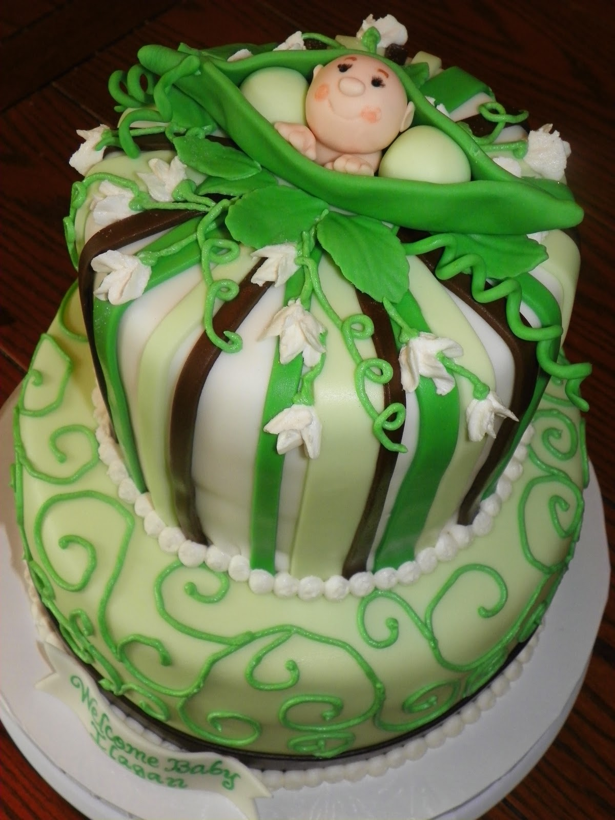 plumeria cake studio pea in the pod baby shower cake. Black Bedroom Furniture Sets. Home Design Ideas
