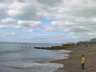 shingle beach with groynes at bognor regis