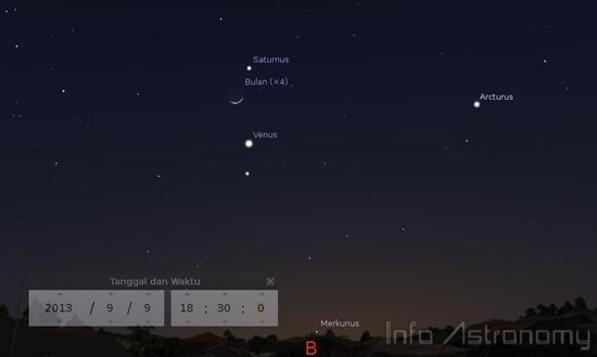 Bulan Ditemani 2 Planet Tata Surya Malam Ini