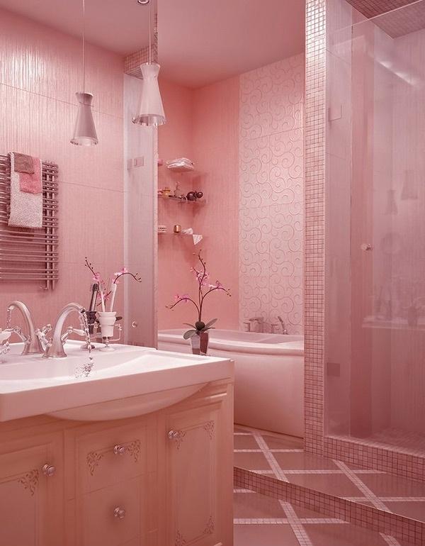 desain kamar mandi pink cantik rancangan desain rumah