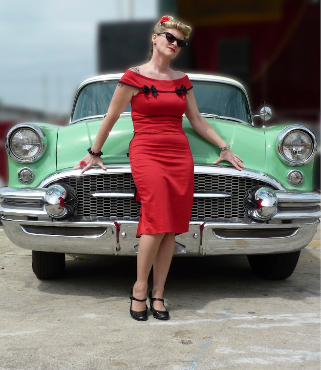 red marilyn pin-up top with rockabilly fishtail skirt