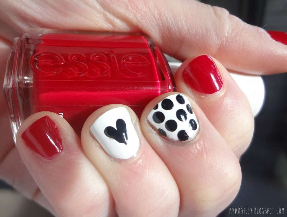 Heart and polka dots Valentine's Day nails, aka Bailey