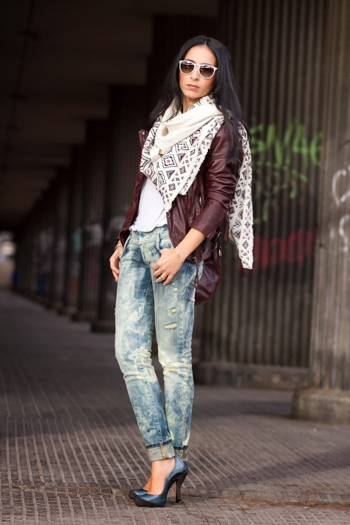 MUUBAA  Reval  Leather Biker Jacket in Oxblood and bleached jeans