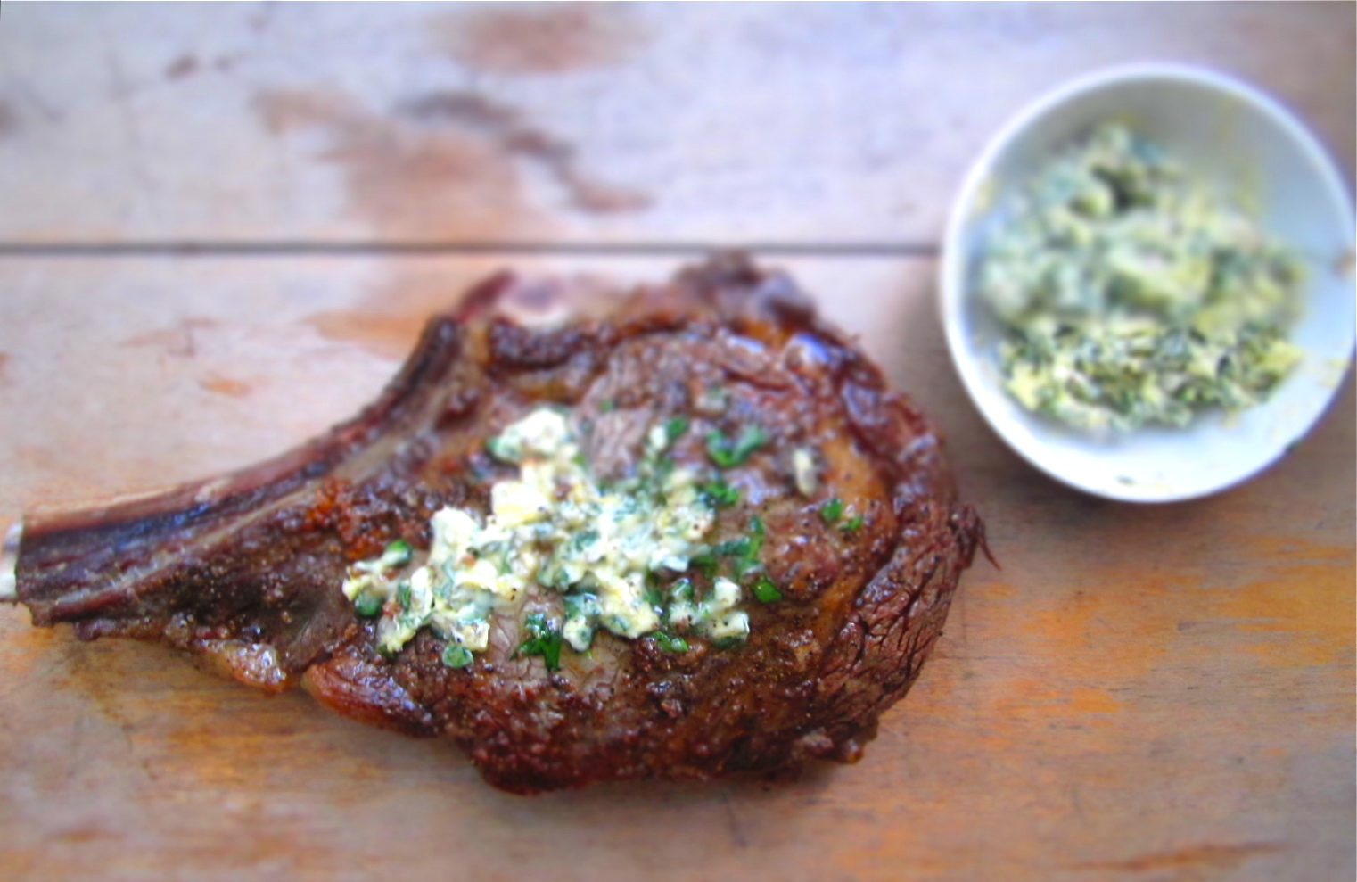 Pan-Roasted Dry-Aged Rib Eye Steak with Parsley Butter