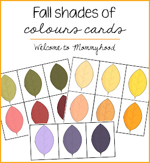 Preschool activities: fall themed color cards and free printables by Welcome to Mommyhood, #freeprintables, #fallactivitiesforkids, #preschool