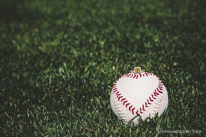 """yellow diamond engagement ring with baseball"""