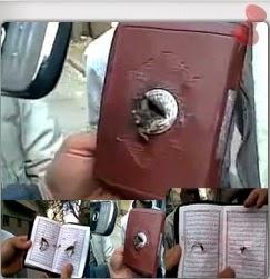 VIDEO PELURU TIDAK MAMPU MENEMBUSI AL QURAN SELAMATKAN NYAWA SEORANG PESERTA DEMONTRASI DI LIBYA