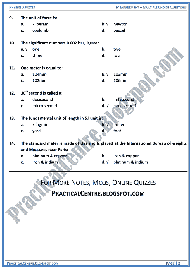 measurement-mcqs-physics-x