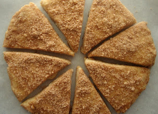cinnamon scones rolled out and cut into triangles