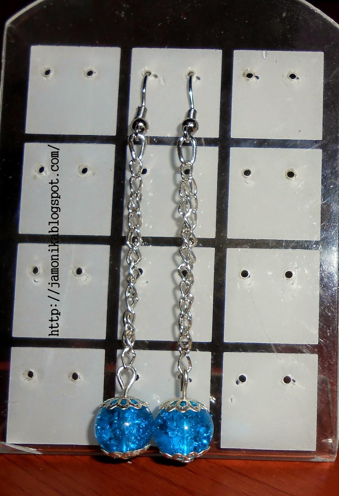 Długie niebieskie kolczyki