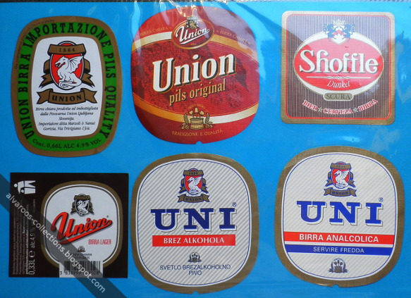Beer labels: Union pils original, Uni (non-alcoholic), Shoffle Dunkel