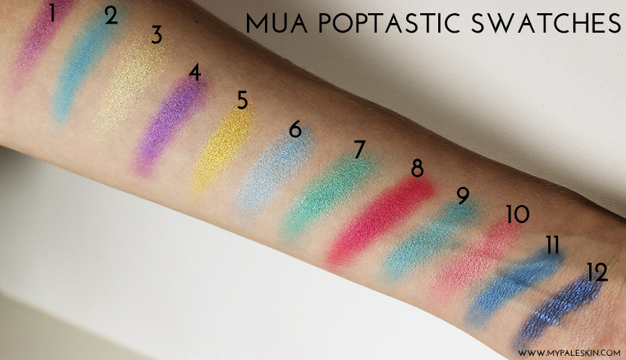 Urban Decay Electric Palette Dupe, MUA Poptastic Palette, Dupe, Review, My Pale Skin, swatch