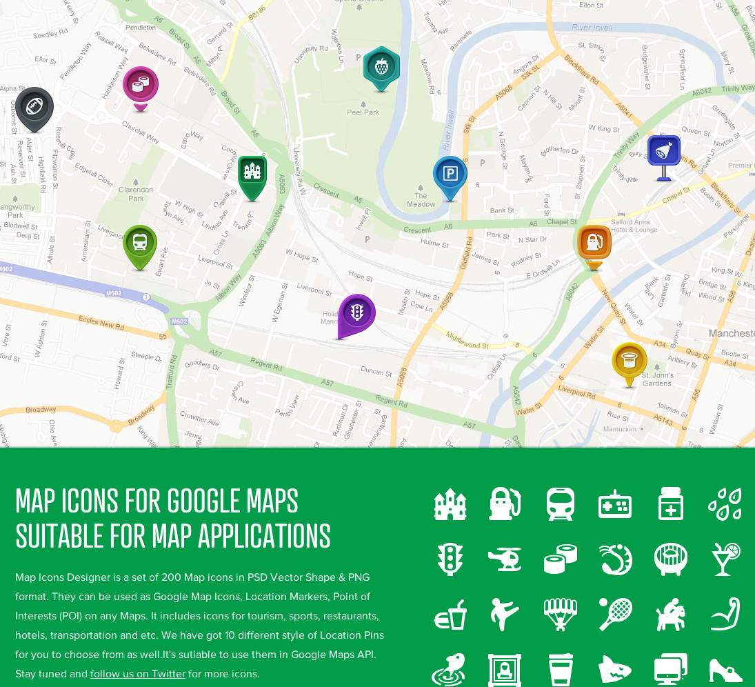 Map Icons Designer is a set of 200 Map icons in PSD Vector Shape  amp  PNG format  They can be used as Google Map Icons  Location Markers  Point of Interests