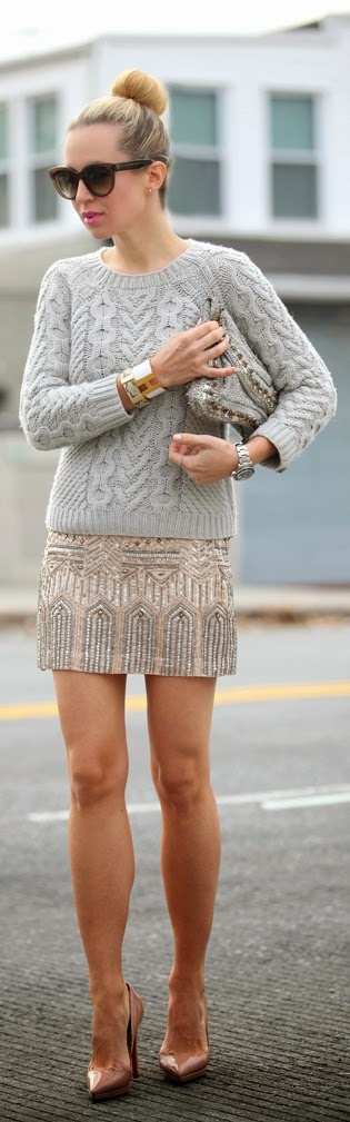 Perfect Embellished Skirt with Grey Sweater | Chic Street Outfits