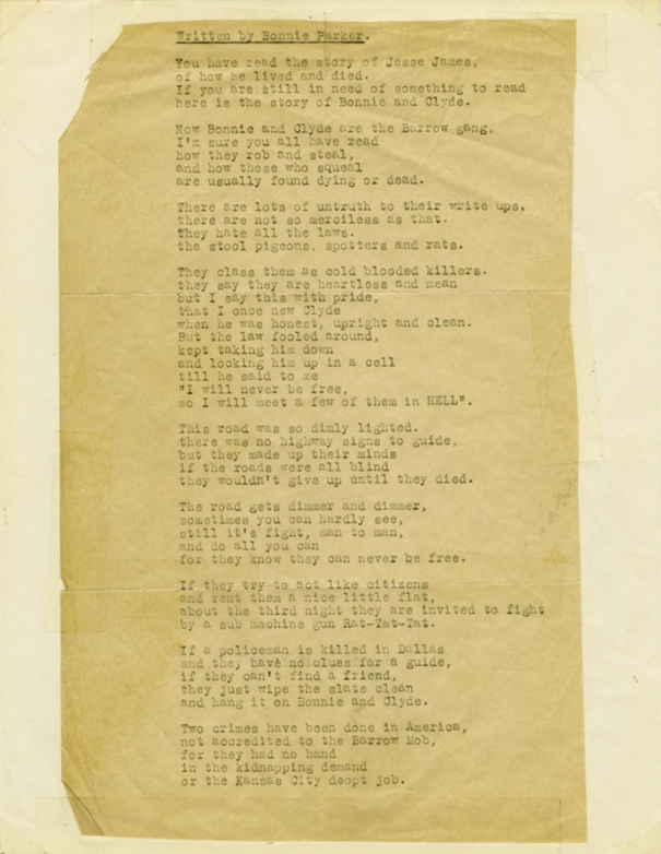 bonnie parker the story of suicide Another poem written by bonnie called  suicide sal  we each of us have a good alibi for being down here in the joint but few of them really.