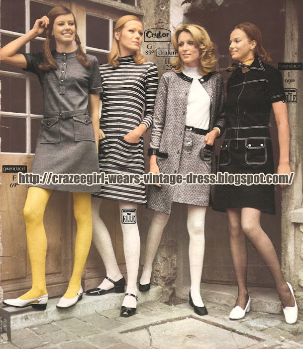 La Redoute dress - 1970 70 striped stripe black white grey gray