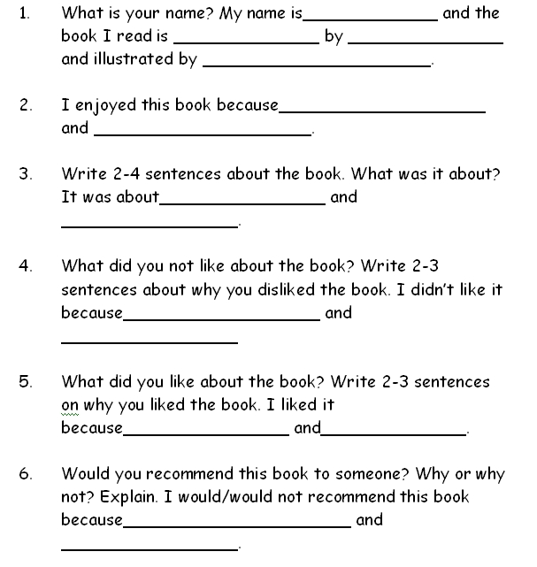 book report project contains four worksheets for students to write ...