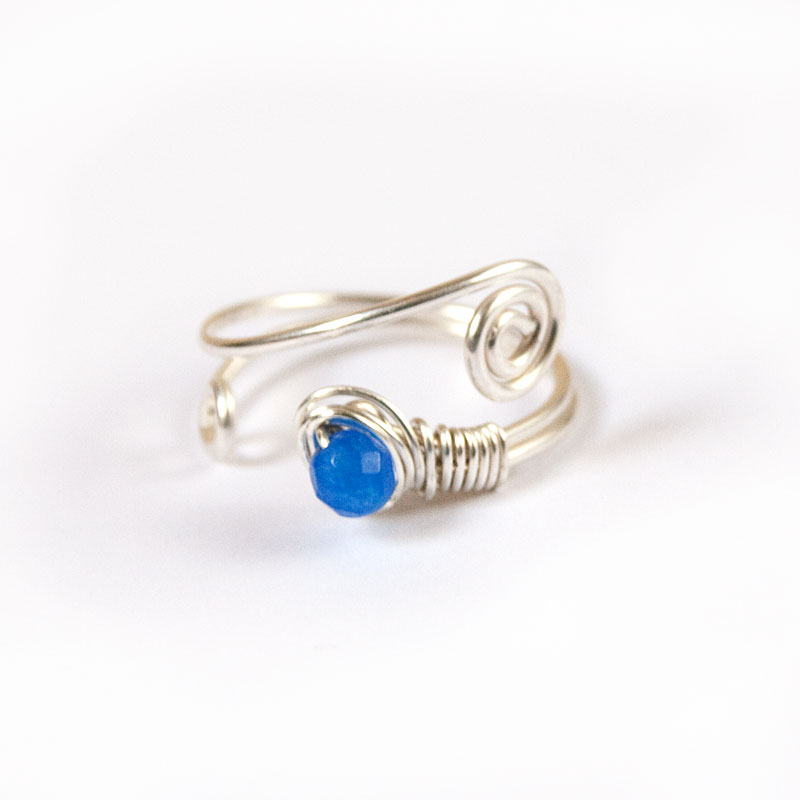 adjustable silver wire ring elven swirls and blue jade