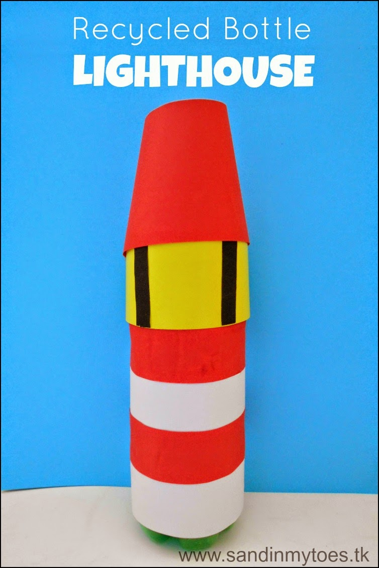 An easy lighthouse craft for kids using a plastic bottle.
