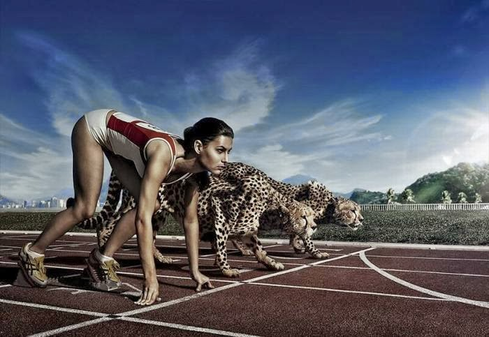 Girl Race With Tiger Funny Photo