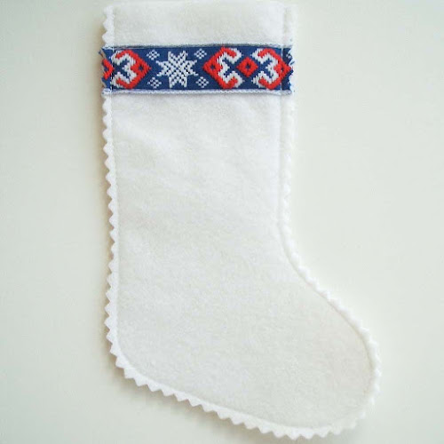 handmade felt christmas stocking with vintage trim detail from Pouch Vintage