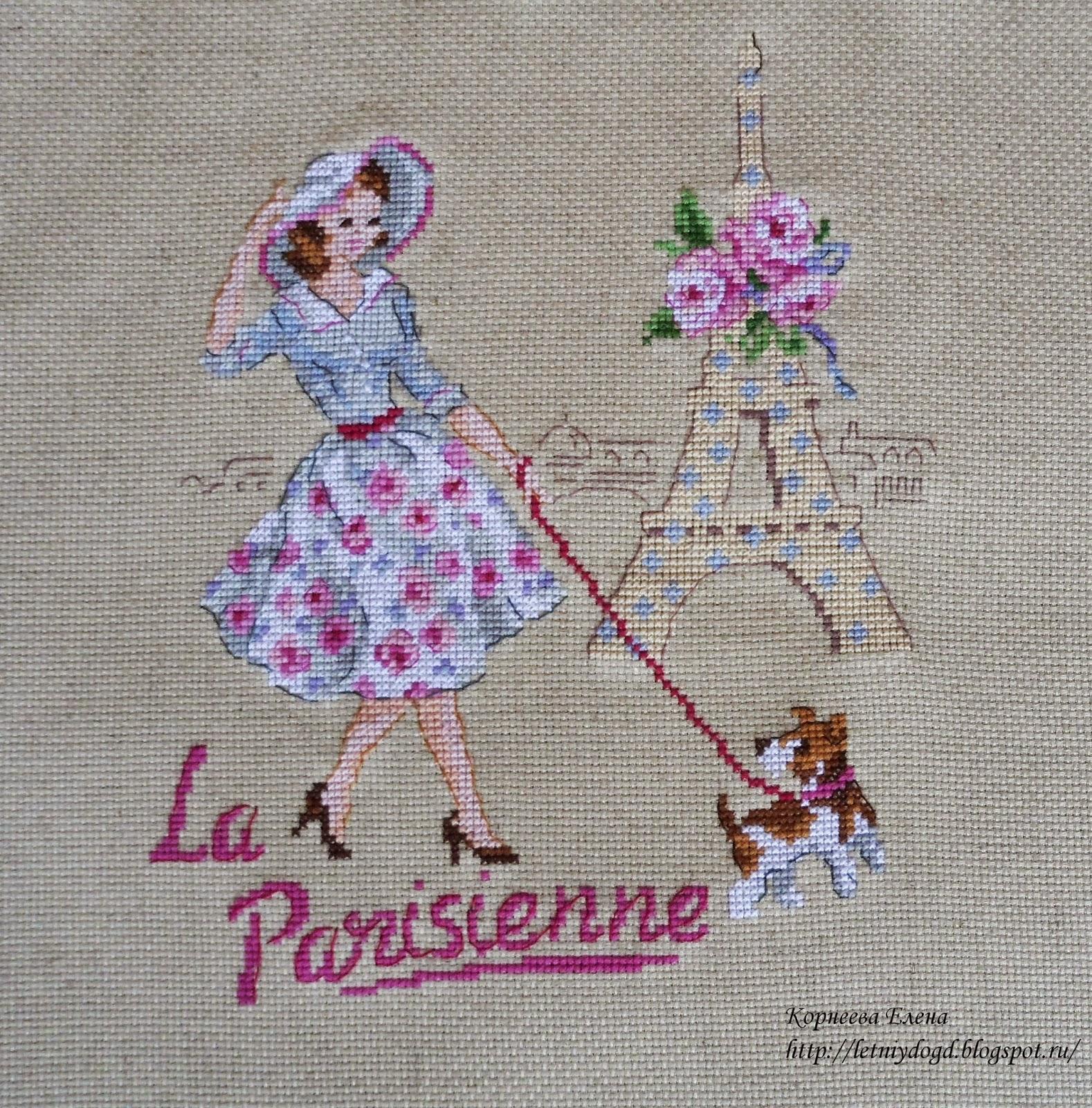 """вышивка крестом """"Парижанка"""" от парижских вышивальщиц"""