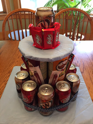 Add candy bars and ribbon
