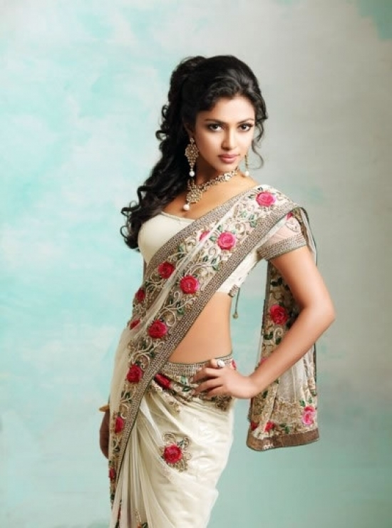 Fash Crazy: White Saree Design With Red Roses Border Pallu