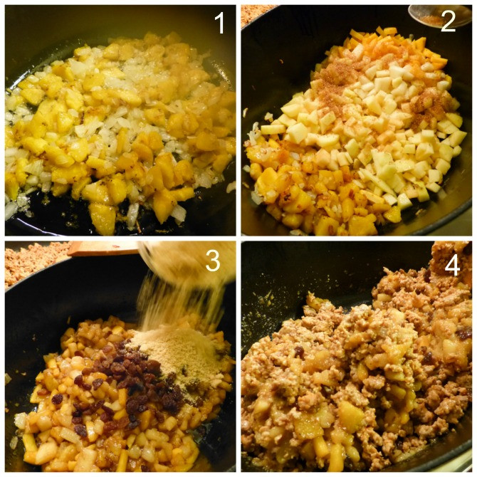 preparamos la fruta para el relleno de los chiles en nogada