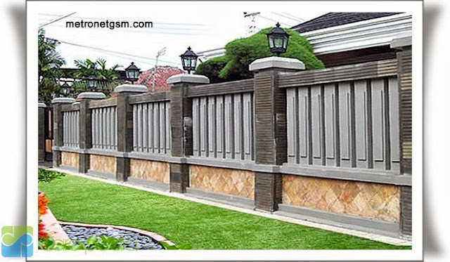 desain pagar rumah minimalis modern mewah besi tembok