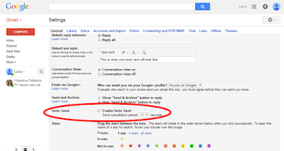 2nd step to enable gmail undo send