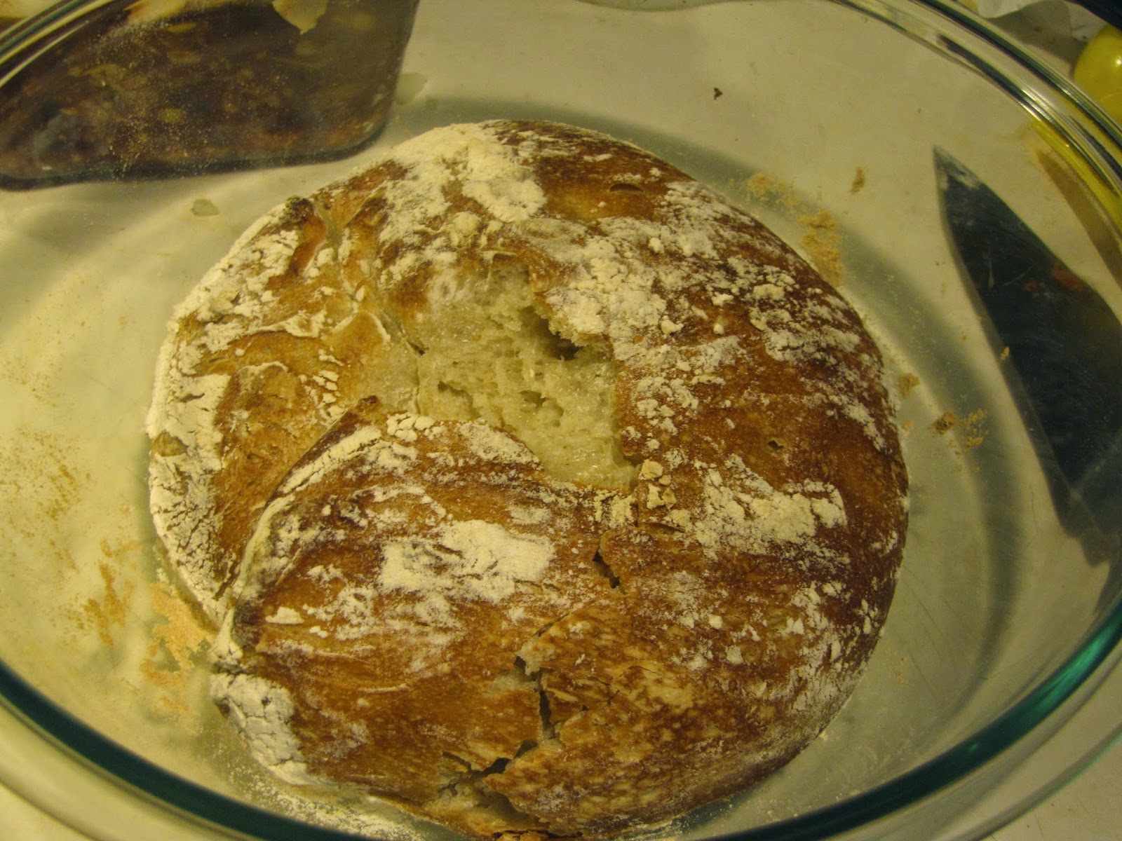 Freshly Baked Bread in a Pyrex dish