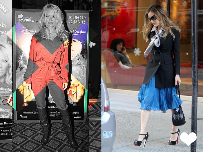 MINHA MÃE QUER SER MOCINHA_High Heels_ssalto alto_botas por cima da calça_Pamela Anderson_Sarah Jessica Parker_Saia azul klein_mal vestida