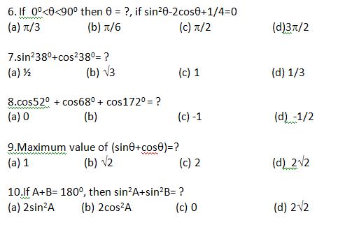 MATH: QUIZ for SSC (Trigonometry)
