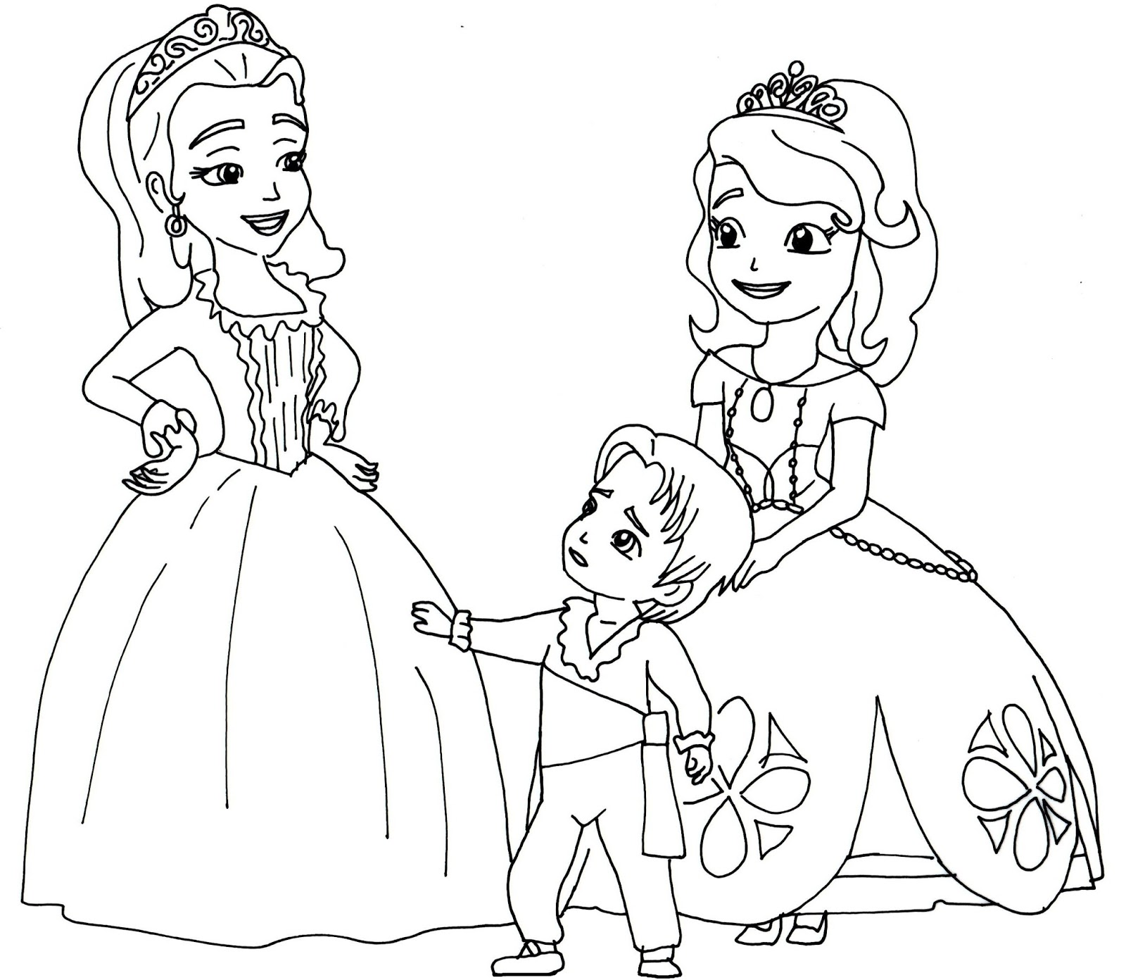 Free Printable Sofia The First Coloring Page With Amber And Baby James In  The Two Princesses And A Baby
